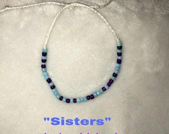 """Adjustable MorseCode Bracelet/Anklet """"sisters"""""""