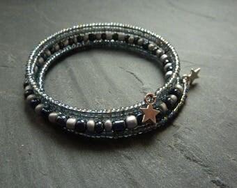 Bracelet Bohemian boho MULTISTRAND grey seed beads