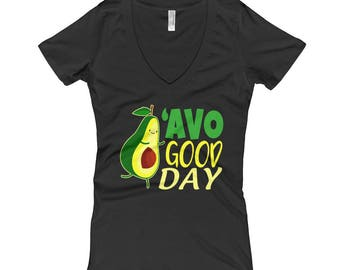 Cute Avo Good Day Punny V-Neck Shirt for Avocado Addicts