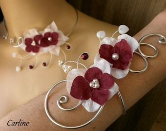 Victoria - Wedding silk Burgundy flowers White aluminium Bracelet beads