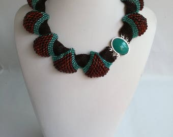 Handmade Czech beaded necklace in brown and green colour