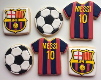 Barcelona soccer sugar cookies /soccer cookies /Messi cookies