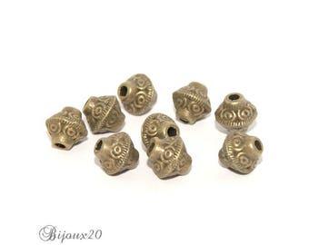 20 beads spacer bicone Bronze 6 mm saucer spinning wheel set M01009
