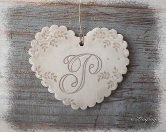 Fingerprint heart of ceramic (size L), edges, wavy, shabby style lace and letter 'P'