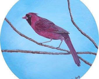 """Painting the original embossed round format, red bird"" Cardinal "", diameter 30 cm"