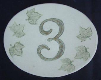 Door number, original oval shape, number 3 deco Ivy leaves