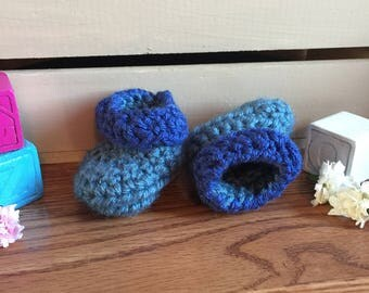 Newborn Baby Blue Crochet Booties