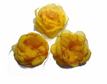 set of 3 flowers orange yellow organza and beads