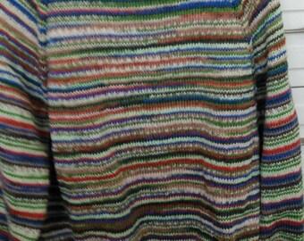 "Sweater Beautiful Italian Merino wool, Seamless handcrafted in Adriafil Knitcol Shade 54 Van Gogh SIZE 42"""
