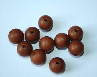 Set of 10 plastic Brown beads 1 cm