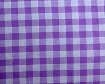Coupon 100 x 45 cm gingham checkered purple and white 10 mm - fabric purple and white gingham cotton