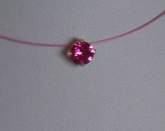 Very beautiful kitten necklace fuchsia Swarovski nylon thread