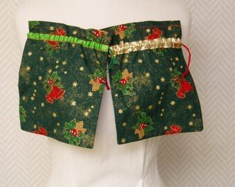 Christmas green pattern cotton gift bag Red