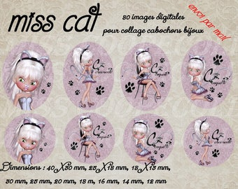 """Images digital jewelry cabochons ' Miss cat"", cat, ppet"