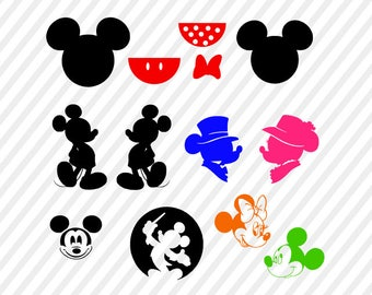 mickey mouse svg file, mickey and minnie silhouettes digital file, mickey clip art, cricut file, silhouette  files, disney svg