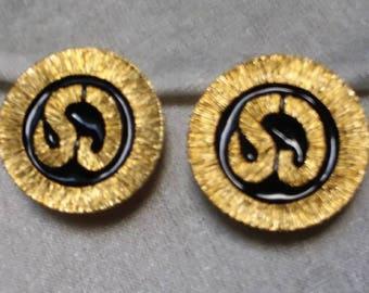 Vintage Signed St. John SJ logo  Gold tone and black enamel disc clip on earrings