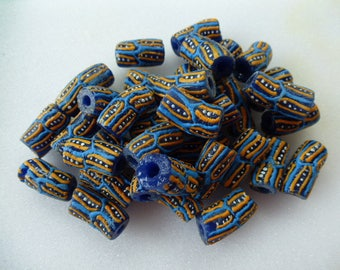 origin Africa batches of 5 color blue recycled glass tube beads