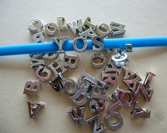 letters for child bracelet monsters, monsters set of 5 silver tone plastic