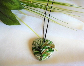 triangle pendant necklace brightly colored green and gold modern murano style glass