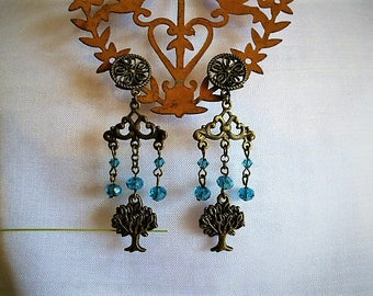 tree of life bronze and turquoise blue Crystal style beads earrings
