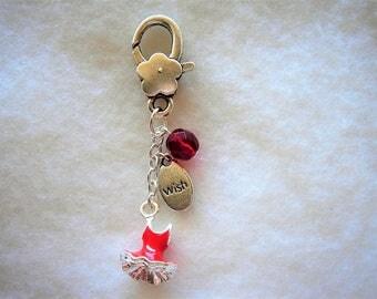 bag charm key dress charm red enamel and silver