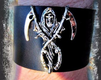 Grim Reaper Leather Cuff, Black Leather Cuff, Gothic Cuff, Wide Cuff