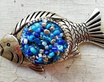 Brooch Blue fish