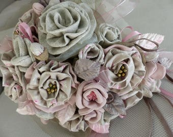 tilda and linen fabric flowers bridal bouquet
