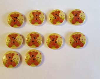 10 small Teddy bear buttons