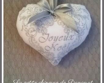 Merry Christmas silver heart