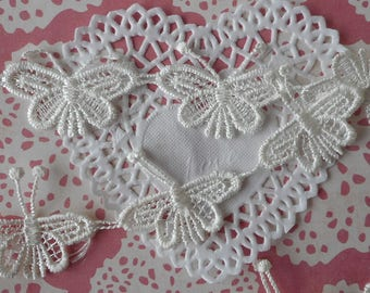 Lace white butterflies for customization or decoration 4,50 cm wide (for 8 butterflies)