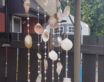 Handmade Sea shell wind chimes, outdoor decor, beach themes, wall hangings, Made with Bamboo