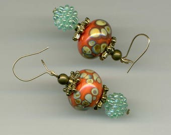 GOLD FILLED 14 KT earrings 'ORANGE and TURQUOISE' - part one