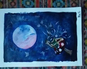 Moon Fairy Painting A3 on Canvas Paper, 29.8 X 42.7 cm