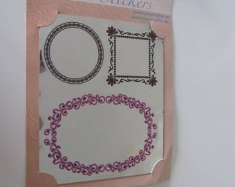 very nice mirror frame-shaped stickers: round, square and oval