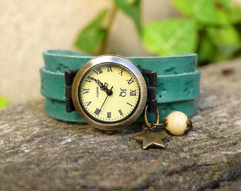 Handcrafted vintage blue/green patina engraved Leather Bracelet Watch leather stars