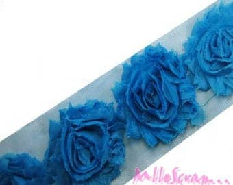 The 3 flowers scrapbooking embellishment-blue organza Ribbon *.