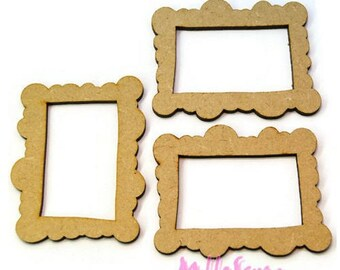 Wood pattern set of 3 small frames to decorate scrapbooking card making (ref.710) *.