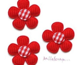 Set of 5 small fabric and red flowers embellishment scrapbooking, sewing. (ref.310) *.