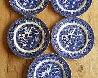 """Antique Swinnertons Staffordshire England """"Old Willow"""" Blue & White Dinner Plates- 5 Available! Made in England!"""