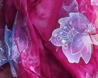 """Silk chiffon scarf raspberry """"Christmas flower"""""""