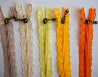 1 x lace zipper 25cm, shades of yellow zipper