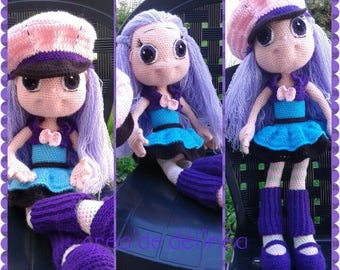 Purple with big eyes doll