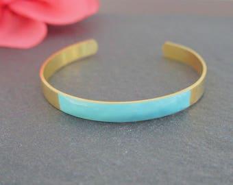 Cuff Bracelet ethnic bracelet mint - enameled jewelry