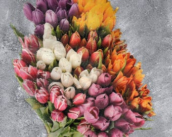 Decorative wall tulips amid silver in a frame