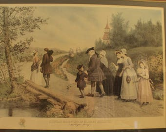Jennie Brownscombe - Sunday Morning in Sleepy Hollow Framed Print Etched by Jas S King