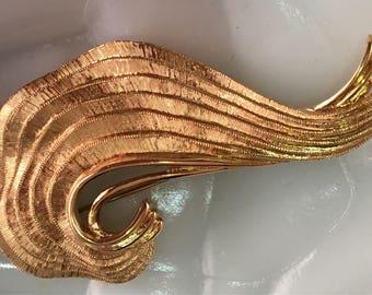 Vintage Monet Brushed Gold Ribboned Brooch
