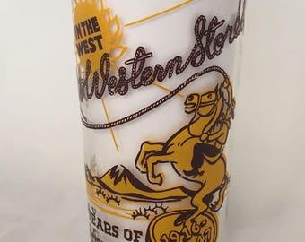 Vintage Advertising Measuring Cup 1940's Western Cowboy Retro Theme