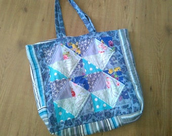Quilted bag, upcycled fabrics