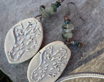 Rustic earrings (that!) Mexican atmosphere - ceramic and gems